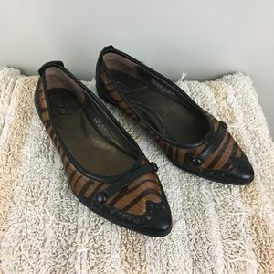 Born Leather & Dyed Pony Hair Print Leather Flats